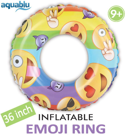 Aquablu Inflatable Inner Tube Cool Summer Swim Ring & Lounge Float for Pool Beach Lake River & More 36 Diameter Emoji Design Perfect for Kids Teens & Adults Ages 9+