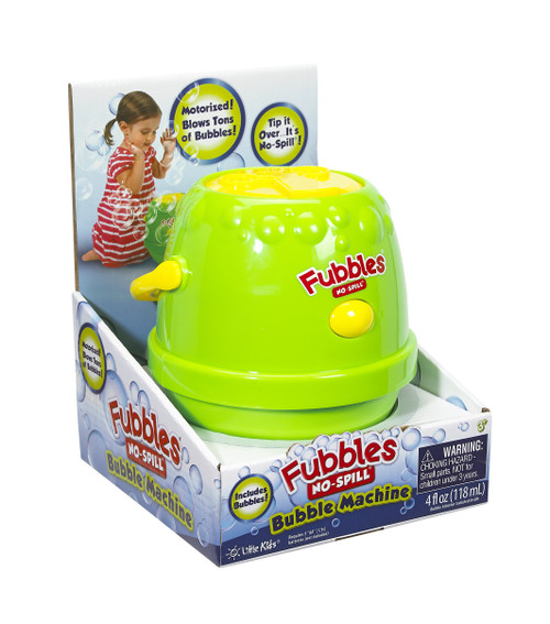 Little Kids Fubbles No-Spill Motorized Bubble Machine in Green, Includes 4oz Bubble Solution