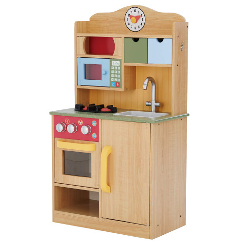 Teamson Kids Little Chef Florence Classic Kids Play Kitchen Toddler Pretend Play Set with Accessories, 2 Drawers, and Clock Wood Grain