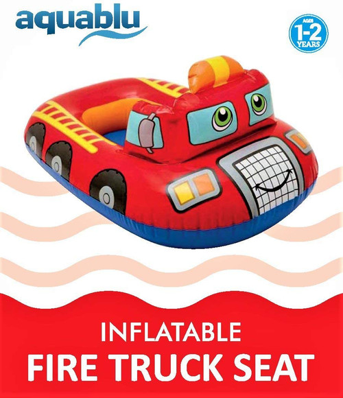 aquablu Inflatable Fire Truck Cool Summertime Swim Seat & Float Toy for Pool Beach Lake Bay & More Exciting Red Fire Engine Steering Wheel & Solid Bottom for Toddlers Ages 1-2 Years