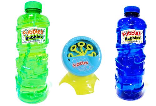 Fubbles Bubble Blastin' Bigger Bubbles Kids Automatic Party Machine and Includes 2 Bottles of 32oz Bubbles Solution - Total 64 oz Bubbles Refill - Colors May Vary