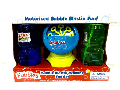 Fubbles Bubble Blastin' Bigger Bubbles Kids Automatic Party Machine and Includes 2 Bottles of 32oz Bubbles Solution - Total 64 oz Bubbles Refill - Colors May Vary