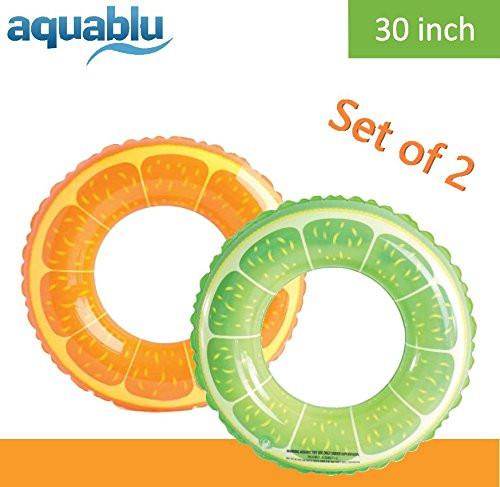Aquablu Inflatable Inner Tube Cool Summer Swim Ring & Lounge Float for Pool Beach Lake River & More 30 Diameter Juicy Fruit Design Perfect for Kids Teens & Adults Ages 6+