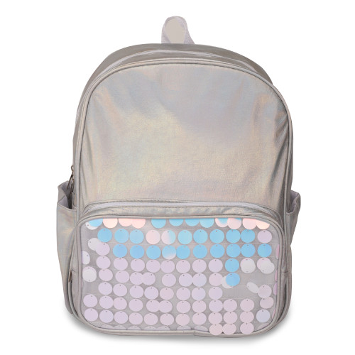 "Moore Iridescent Silver Water Resistant 14""Backpack for Boys and Girls, Perfect Size School & Travel Briefcase for Books and Lunch."