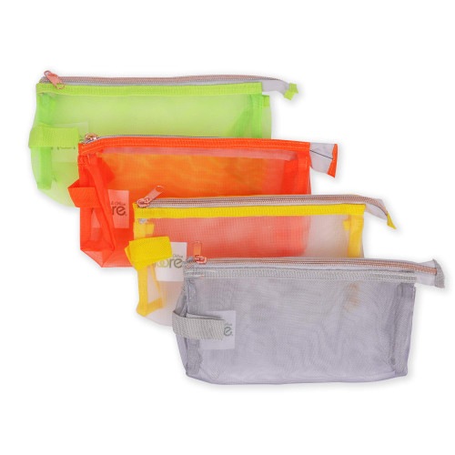 "Moore Four Pack 9"" Pencil Case, Strong Durable Mesh Breathable Materiel - 4 Fun Colors Use for School Supplies or Makeup"