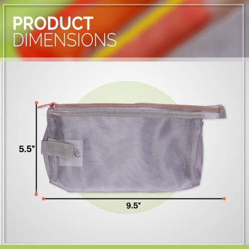 """Moore Four Pack 9"""" Pencil Case, Strong Durable Mesh Breathable Materiel - 4 Fun Colors Use for School Supplies or Makeup"""