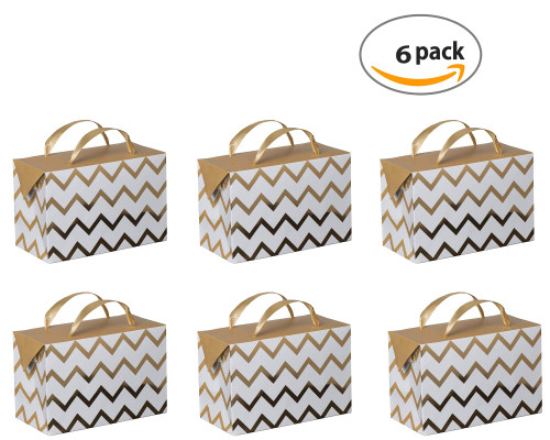 "Gold Chevron Gift Bag Box 7""x 3.5""x 4.75"" (6 Pack)"