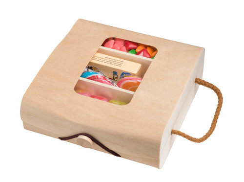 """Wooden Case Sectional Candy Gift Box with cutout  5.75''x2''x5.75"""" (4 Pack)"""