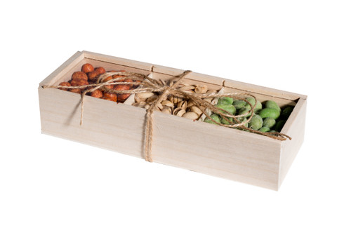 3 Sectional Wooden Case Candy Gift Box with Window 10.25''x3.75''x2.25'' (4 Pack)