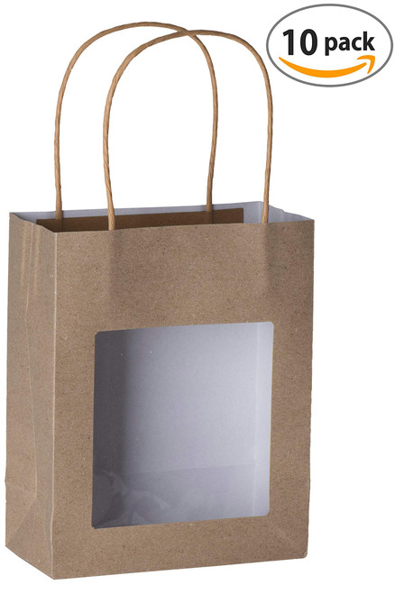 "Brown Kraft Paper Bag with Window 7.75""x 6.25"" x 3"" (10 Pack)"