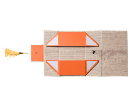 """Hammont Folding Gift Boxes with Tassel (4 Pack)-Rectangle Orange Gift Wrapping Kraft Paper Box, Cardboard Box,  7""""x4""""x 2.5"""""""