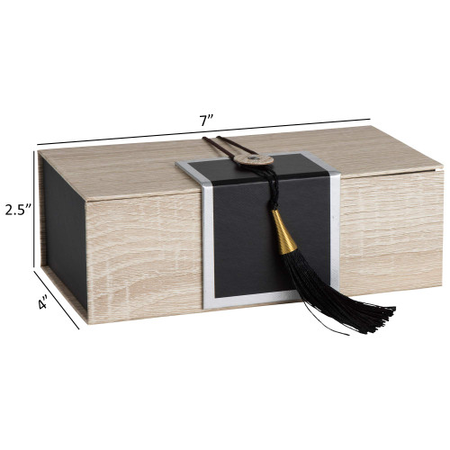 """Hammont Folding Gift Boxes with Tassel (4 Pack)-Rectangle Black Gift Wrapping Kraft Paper Box, Cardboard Box,  7""""x4""""x 2.5"""""""