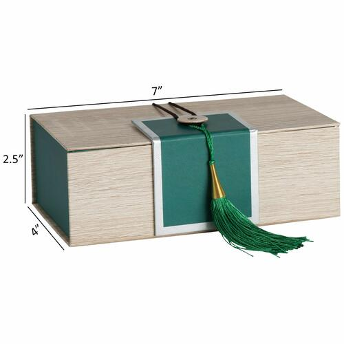 """Hammont Folding Gift Boxes with Tassel (4 Pack)-Rectangle Green Gift Wrapping Kraft Paper Box, Cardboard Box,  7""""x4""""x 2.5"""""""