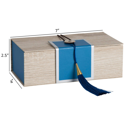 """Hammont Folding Gift Boxes with Tassel (4 Pack)-Rectangle Blue Gift Wrapping Kraft Paper Box, Cardboard Box,  7""""x4""""x 2.5"""""""