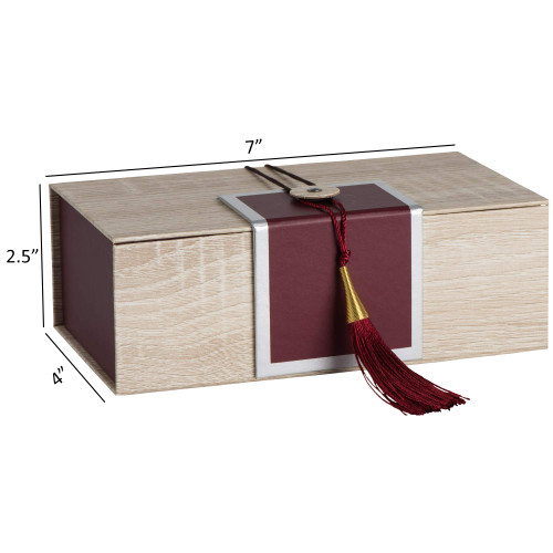 """Hammont Folding Gift Boxes with Tassel (4 Pack)-Rectangle Maroon Gift Wrapping Kraft Paper Box, Cardboard Box,  7""""x4""""x 2.5"""""""