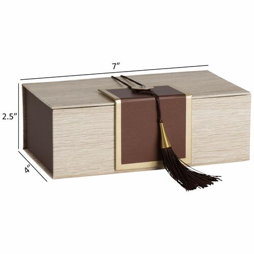 "Hammont Folding Gift Boxes with Tassel (4 Pack)-Rectangle Brown Gift Wrapping Kraft Paper Box, Cardboard Box,  7""x4""x 2.5"""