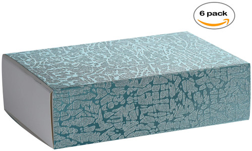 Blue Sleeve DIY Sliding Kraft Paper Box-Cardboard Drawer Luxury Boxes for Engagement, Birthday Party, Thanksgiving Occasion 7 x 4.75 x 2 (6 Pack)