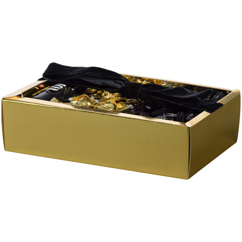 Clear PVC Sleeve DIY Sliding Gold Gift Box-Kraft Paper Luxury Packaging Boxes for Birthday Party, Thanksgiving Occasion 7 x 4.75 x 2 (6 Pack)