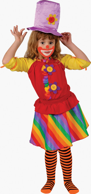 Rainbow Girl's Clown Costume By Dress Up America