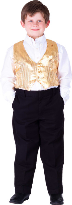 Kids Gold Sequin Vest By Dress Up America