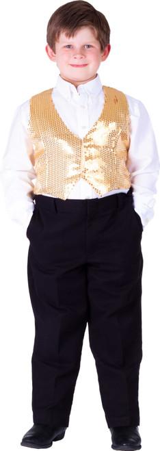 Kids Gold Sequin Vest By Dress Up America