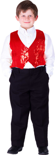 Kids Red Sequin Vest By Dress Up America