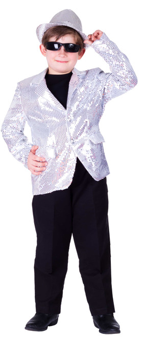 Fully lined Silver Sequin Jacket For Kids By Dress Up America