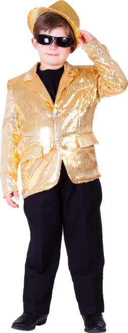 Fully lined Gold Sequin Jacket For Kids By Dress Up America