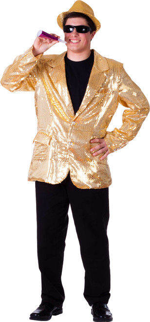 Fully lined Gold Sequin Jacket for Adult By Dress Up America
