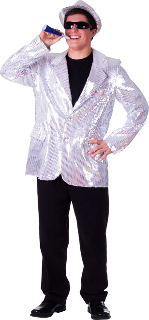 Fully lined Silver Sequin Jacket for Adult By Dress Up America