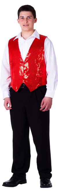 Fully Lined Red Sequin Vest for Adults by Dress up America