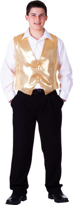 Fully Lined Gold Sequin Vest for Adults by Dress up America