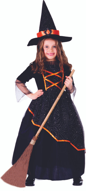 Little Girl Black and Orange Witch Costume by Dress Up America