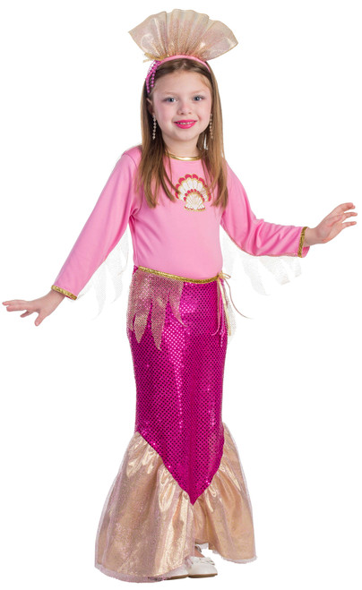 Little Girls Princess Mermaid Pink Costume
