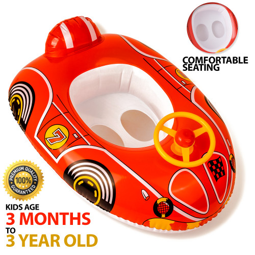 aquablu Inflatable Red Race Car Cool Summertime Swim Seat & Float Toy for Pool Beach Lake Bay & More Exciting Red Racer Steering Wheel for Toddlers Ages 1-2 Years