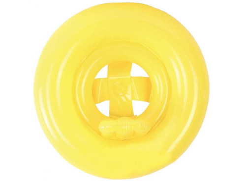 Aquablu Inflatable Baby Seat 24 Yellow Summertime Safety Float for Pool Beach Lake Bay & More Comfortable Floating Support & Solid Bottom for Toddlers Ages 1-2 Years