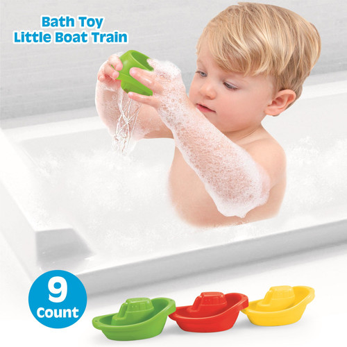 Playkidz Bath Toy Little Boat Train Pack of 9 Stackable Plastic Kids Tugboats for Bathtub & More in 6 Colors Ages 3 and Up