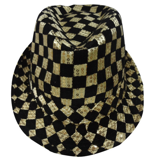 Gold Checkerboard Fedora Hat