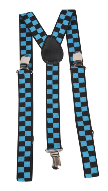 Blue Checkerboard Suspenders