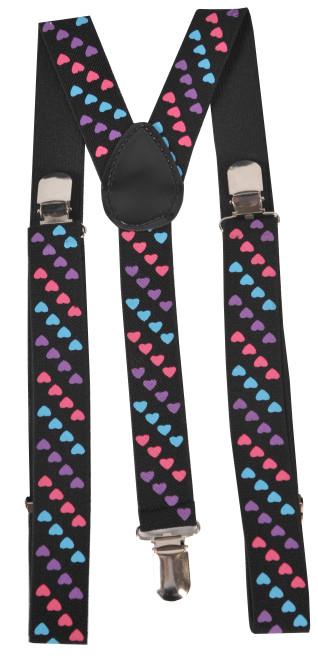 Tri Colored Heart Suspenders