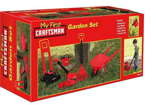 Craftsman My First Ever 8 Piece Garden Set for Kids - includes Wheelbarrow, Lawn Mower, Sprinkler, Can, Rake, Shovel and 3 Tools