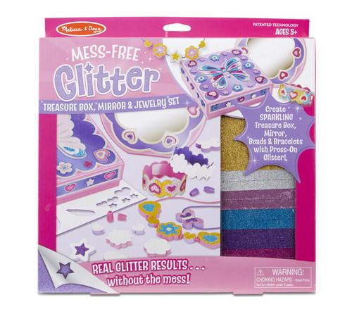 Melissa & Doug Mess-Free Glitter Treasure Box, Mirror and Jewelry Set