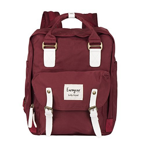 Eurogear Buckle Fashion zippered Backpack for girls and boys students recommended for ages 8+ (Maroon)