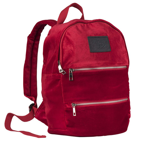 Blubel stylish Velvet Fashion zippered Backpack for girls and boys students recommended for ages 6+ (Red)