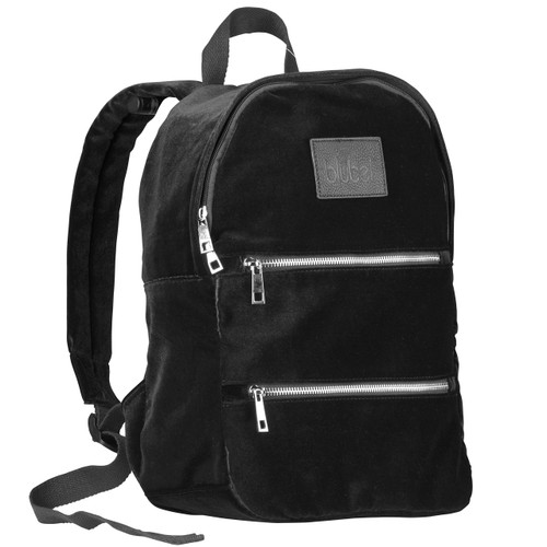 Blubel stylish Velvet Fashion zippered Backpack for girls and boys students recommended for ages 6+ (Black)