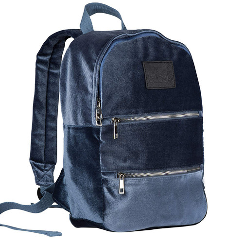 Blubel stylish Velvet Fashion zippered Backpack for girls and boys students recommended for ages 6+ (Denim)