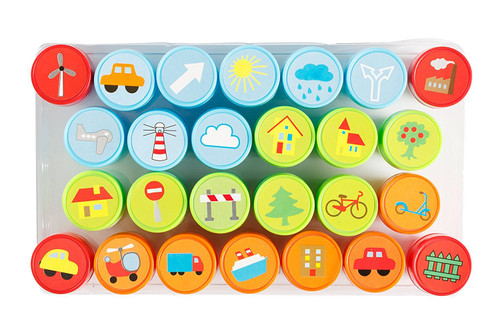 Moore Art 26 Piece Self Inking Nature Design Plastic Stampers with Multi Color Bright Nature Ink Stamps, DIY Craft for Children, Party Gifts.