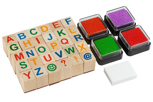 Moore: Premium Wooden Alphabet Stamp Set - 34 piece set of Uppercase Letters Stamps With 4 Color Ink Pads.