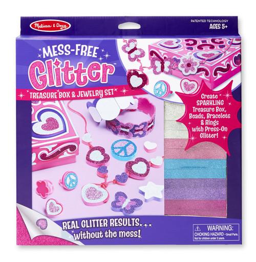 Melissa & Doug Mess-Free Glitter Treasure Box and Jewelry Set Craft Kit