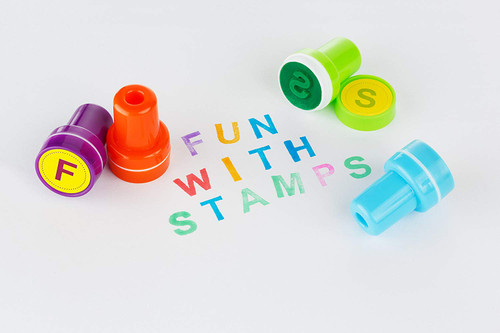 Moore: Premium 26 Piece Self Inking Alphabet Plastic Stampers, Multi Color Bright Alphabet Ink Stamps, DIY Craft for Children, Party Gifts, Teacher Stamps
